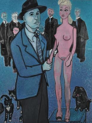 """Hopper V. Barbie. Oil on canvas. 60"""" x 48"""""""