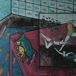"""Interior with Aquarium #2. Oil on canvas. 48"""" x 60"""""""