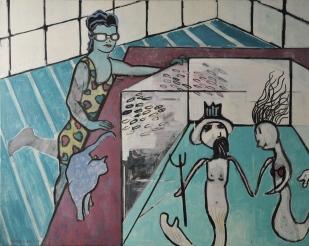 """Interior with Aquarium #1. Oil on canvas. 48"""" x 60"""""""