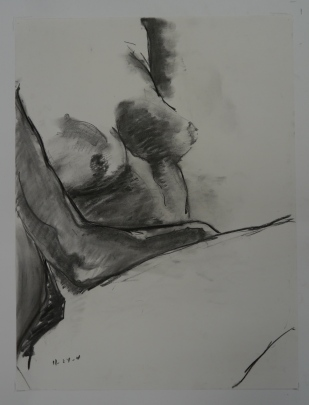 "Untitled. Charcoal on paper. 24"" x 18"""