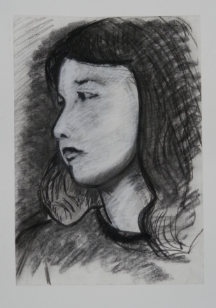"Untitled. Charcoal on paper. 16"" x 12"""