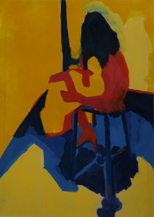 "Composition in Red, Yellow and Blue. Oil on Paper. 24"" x 18"""