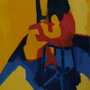 """Composition in Red, Yellow and Blue. Oil on Paper. 24"""" x 18"""""""