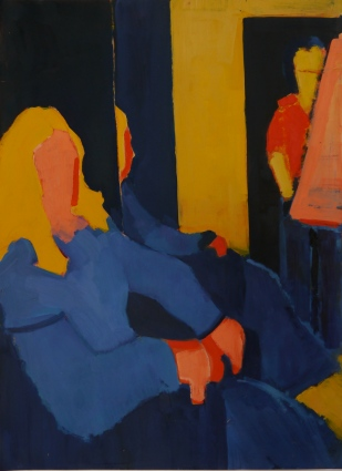 "Studio in Red, Yellow and Blue. Oil on Paper. 24"" x 18"""