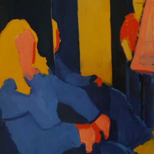 """Studio in Red, Yellow and Blue. Oil on Paper. 24"""" x 18"""""""