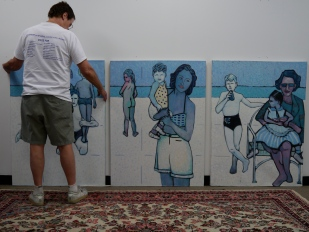 "Study In Blue and White. Triptych. Oil on canvas. 48"" x 108"""