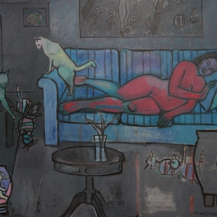 "Interior in Grey and Red. Oil on canvas. 48"" x 60"""